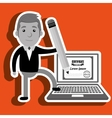 man with laptop isolated icon design vector image vector image