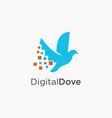 modern minimalist digital dove pixel logo icon vector image vector image