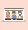 online meeting chat social media vector image