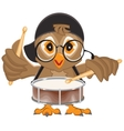 Owl drummer Owl beats the drum vector image vector image