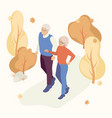people in autumn park having fun and walk vector image vector image