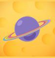 planet saturn yellow moon vector image