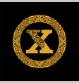premium elegant capital letter x in a round frame vector image vector image