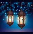 ramadan lanterns night composition vector image