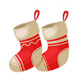 red socks christmas and new year symbol vector image