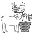 reindeer with feathers hat and basket arrows vector image vector image