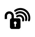 safe secure padlock with wifi signal vector image