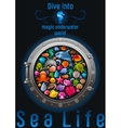 Sea travel icon set with underwater diving animals vector image vector image