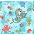 Seamless pattern with mermaid princess vector image vector image