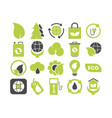 set ecology green icons vector image