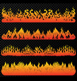 set flame and fire in vintage style hand drawn vector image vector image