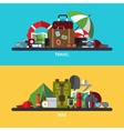 set of tourism traveling hiking vector image