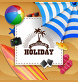 summer beach background with holiday sign concept vector image