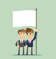 two business man holding a flag vector image vector image