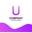 u company logo design with purple theme vector image vector image