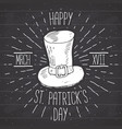 vintage label hand drawn leprechaun hat happy vector image