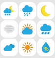 weather flat icons set collection of moon frosty vector image vector image