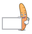 with board baguette character cartoon style vector image