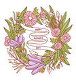 Happy Mothers day beautiful floral wreath greeting vector image