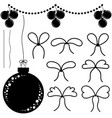a set of flat black isolated silhouettes of vector image vector image