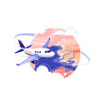 airplane flying through clouds in sky vector image vector image