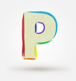Alphabet letter P Watercolor paint design element vector image