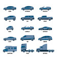 automobile set isolated car models of different vector image vector image