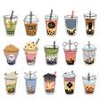 bubble tea popular taiwanese pearl milk tea with vector image