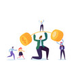 businessman lifting up barbell with golden coins vector image vector image