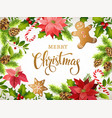 christmas design composition of poinsettia fir vector image vector image