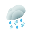 Cloud with rain drops and snowflakes icon vector image vector image