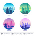 collection famous chinese city scapes vector image vector image