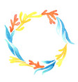 colorful coral and seaweed wreath watercolor vector image vector image