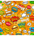 comic speech bubbles seamless pattern on orange vector image vector image
