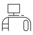 computer desk thin line icon office desk vector image vector image