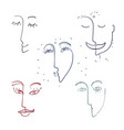 continuous line drawing set faces fashion vector image vector image