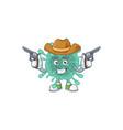 cool cowboy cartoon coronaviruses holding guns vector image vector image