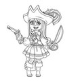 cute girl in pirate costume outlined for coloring vector image