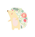 cute hedgehog with prickles made floral vector image vector image