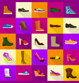 footwear shoes icons set flat style vector image