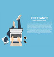 freelancer working at home with laptop top view vector image vector image