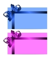 gift cards with realistic colorful ribbons vector image