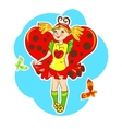 girl wearing ladybug costume vector image