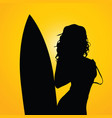 girl with surfboard on yellow background two vector image vector image