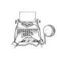 hands chained to typewriter engraving vector image
