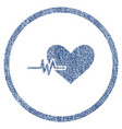 heart pulse rounded fabric textured icon vector image vector image