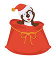 husky in christmas hat sits inside huge bag for vector image