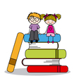 kids sitting on books vector image vector image