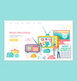 media advertising television and internet sources vector image vector image