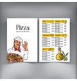 Menu design with Italian chef serving freshly vector image